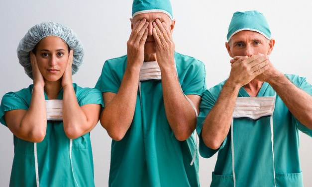 Surgeons Expressing See No Evil, Hear No Evil, Speak No Evil